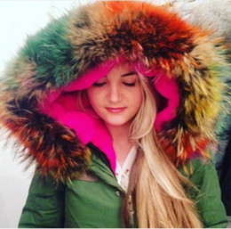 Wholesale 2016 New Women Winter Army Green Jacket Coats Thick Parkas Plus Size Big Real Raccoon Fur Collar Hooded Outwear Day Delivery