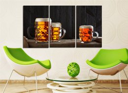 Wholesale 3 Panel Big Size Top Sell Modern Wall Hanging Painting Beer Home Wall Art Picture Paint on Canvas Prints Paints Home Decor