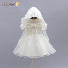 Wholesale 3PCS Set Newborn Christening Gown Party Wedding Dress with Bonnet and Cape Elegant Baptism Dresses for year girl baby birthday