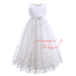 Pettigirl New High Quality White Ball Gown For Girls Fashion Floral Print Full-length Party Dress With Flower Sashes Girls Wedding Dress