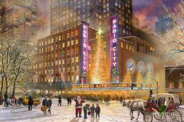 Wholesale Hand painted art on canvas Radio City Music Hall Thomas Kinkade paintings for sale High quality