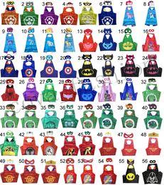 Wholesale 120 Styles Double Side kids Halloween Cosplay Costume Superhero Capes With Masks Batman Spiderman Turtles Flash Supergirl Batgirl Pikachu