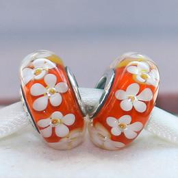 Descuento colgantes tropicales Plata S925 Tornillo Core tropicales granos del encanto de la flor de cristal de Murano caben las pulseras de la joyería europeas colgantes de los collares