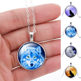 Wholesale 2016 Newest silver plated Pendant Necklace Vintage Wolf Picture Glass Cabochon Statement Chain Necklace Summer Style Jewelry