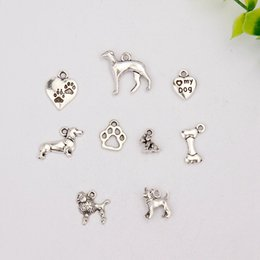 Wholesale Hot Sell Retro Silver Greyhound Poodles Odd doll dog Mix Charms Pendant Fashion Jewelry DIY For Necklace Bracelet F111