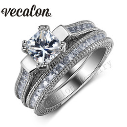 Vecalon Engagement Wedding Ring Set for Women Full Princess cut 10ct Simulated diamond Cz 14KT White Gold Filled Vintage Ring