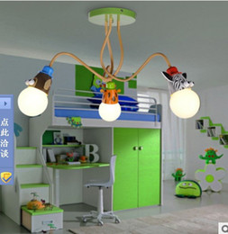 The new children's room ceiling three friends cartoon animal head chandelier lamp creative bedroom AC 110V-220V