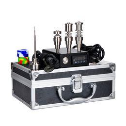 Wholesale 2016 New Electric Dab Nail E Box Complete Kit Aluminium Case Gr2 Titanium Nails Carb Cap kit Temperature Controller