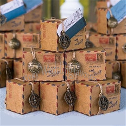 Wholesale Kraft Vintage Airmail Favor Boxes Wedding Favors Party Candy Boxes Mix sets Globe sets Compass sets
