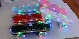 Wholesale New Bluetooth Wireless Skateboard scooter Speaker with Led Light Mini TF U Disk FM MP3 MP4 Bluetooth Hifi Music Pulse Speaker Christmas gift