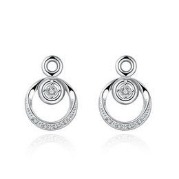 New Luxurious Plated Solid 925 Sterling Silver Cubic Zirconia Round Stud Earrings Sparkling CZ Diamond Crystal Earings for Women