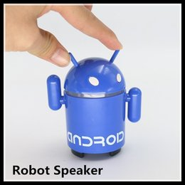 Wholesale Portable Mini USB Loud Speaker TF SD Card Voice Sound Box Android Robot Shape for Gift Cute bluetooth speaker DHL
