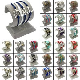 Wholesale Lots Mix Styles Retro Ethnic Tribal Infinity Rudder Multilayer Diy Hand-woven Cuff Bracelets Brand New