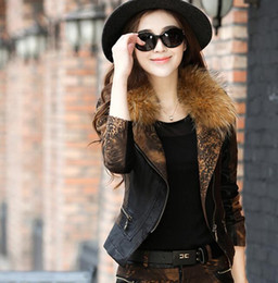The new thin coat raccoon fur collar coat female short paragraph Korean tidal fall and winter suede leopard thick leather jacket 2066
