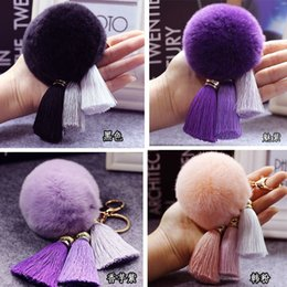 Wholesale Cheap Pink Ornaments - High-end Ball Plush Ornaments Keychains Fashion Stainless Steel Rabbit Hair Silk Tassel Key Chain for Car for Lovers Cheap 35