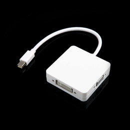 Wholesale 3 In Mini displayport DP Thunderbolt to HDMI DVI DP Converter Adapter Cable For MacBook MacBook Pro MacBook Air