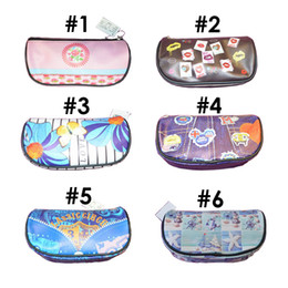 Pencil Case Bags Set of 6 Students Stationery School Supplies Bag With lovely Printing Designs Zippered Opener On Top of Box 6 Styles
