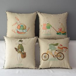 45cm The Easter Bunny and Tiger Cotton Linen Fabric Throw Pillow 18inch Handmade New Home Office Bedroom Decoration Sofa Back Cushion