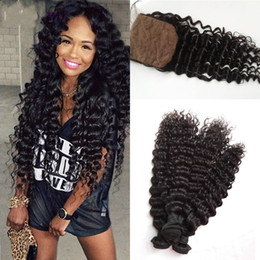 Malaysian Deep Wave G-EASY Hair Products With Closure Bundle 3pc Hair Weave Bundles With Silk Base Closure