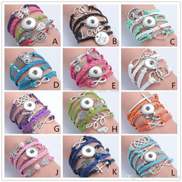 Wholesale Mixed Style Fashion Jewelry Leather Infinity Noosa Snap Button Charm Multilayer Bracelet Ginger Snaps Statement Jewelry