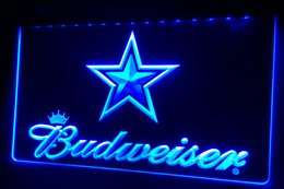 Promotion panneaux de cowboy LS423-b Dallas Cowboys Budweiser Bar Neon Light Sign