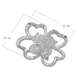 2016 Hot Sale CZ Micro Pave Brass Connaction Flower Platinum Plated & Hollown 25x20mm Nickel Lead & Cadmium Free 10 PCS Lot Free Shipping
