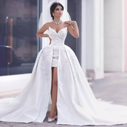 Luxury Sweetheart Beading Wedding Dresses 2016-2017 Summer High Low Bridal Gowns Sexy Backless Sweep Train Wedding Gowns Custom Made