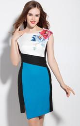 Color Block Flower Ptint Women Sheath Dress Pleated Sexy Split Dresses 05M16109 Plus Size