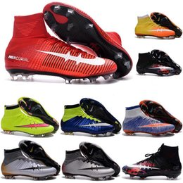 Wholesale New Mens Mercurial Superfly CR7 FG Soccer Cleats Magista Obra Soccer Shoes Outdoor Champions League Football Boots Hypervenom II Cleats
