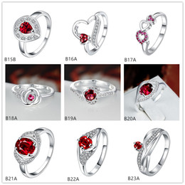 Mixed style burst models fashion red gemstone 925 silver plate ring EMGR2,rose round plated sterling silver ring 10 pieces a lot