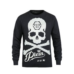 Wholesale 2016 Autumn New Arrived Men s P P Logo Big Skull Printing Fashion Wool Sweaters Coat M XL