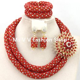 sterling crystal jewelry African Nigeria Jewelery Sets red gold Crystal Beads Women Wedding Necklace bracelet earrings Set 2 rows
