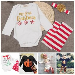 Wholesale Baby Ins Clothing Sets Christmas Romper Headband Leg Warmers Xmas Ins Outfits Elk Pumpkin Halloween Onesies Boot Cuffs Hairband Suits B1241