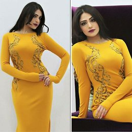 2016 Sexy Sheath Middle East Evening Gowns with Exquisite Embroidery Custom Made Arabic Prom Gown Floor-Length Yellow Cocktail Party Dresses
