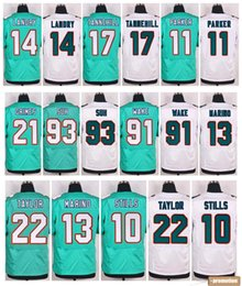 Wholesale 2016 Mens Elite Stitched Jarvis Landry DeVante Parker Ryan Tannehill Dan Marino Jerseys Aqua White Free Drop Shipping