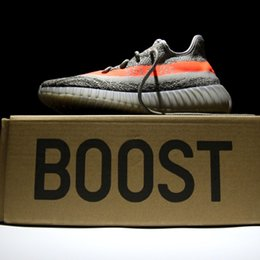 Wholesale Update Sply red orange streak Boost With Box breathable primeknit upper and comfortable boost enhanced sole unit Kanye West Shoes