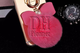 For S7 Edge Bling Mirror TPU Back Cover Metal Ring Rope Tassel Pendant Bow Fur Ball Case For Iphone 5s 6S Plus DHL