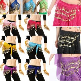 Wholesale dance costumes bellydance Rows Coins Belly Egypt Dance Hip Skirt Scarf Wrap Belt Costume High quality Stage Wear