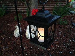 Wholesale 4 pack LED Solar Power Outdoor Hanging Venetian Black Lantern w amber Light