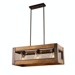 Indoor Pendant Lamp, Interior Lighting Fixture, Home Lighting DIY, Vintage Style Pendant Light, 3 Lights Wood Kitchen Island Lamp