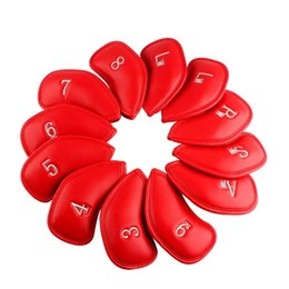 Golf 12pcs Thick Synthetic Leather Golf Iron Head Covers Set Headcover Fit All Brands Clubs Red Color