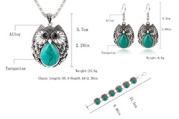 Europe and the United States trend of small turtle, owl metal three-piece necklace, earrings, bracelets. Free shipping.