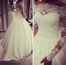 Sexy Off Shoulder Ball Gown Wedding Dresses 2016 With Lace Appliques Beaded Long Sleeves Cheap Wedding Gowns Custom Plus Size Bridal Gown