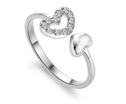 Fast Free Shipping 925 sterling silver love diamond ring opening woman