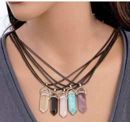 Free Shipping 5 Colors Men's and Women's Fashion Rock Natural Quartz Healing Point Chakra Reiki Pendant Necklace