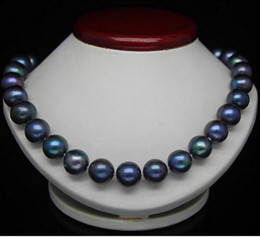 Gorgeous 9-10mm genuine south seas black blue pearl necklace 18inch 925 silver clasp