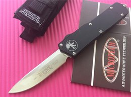 Wholesale Microtech Scarab Executive dual action S E Automatic Knife quot Satin D2 steel Plain T6 aluminum handle knives with nylon sheath