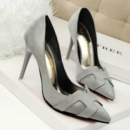 2016 Fashion New Suede Pointed Toes Pumps 10cm Stiletto shoes Lady's Shallow Dress shoes