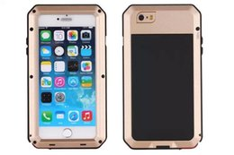 Wholesale Aluminum Metal Case for Iphone s s Plus Iphone s Armor Defender Cover With Tempered Glass Shockproof waterproof full body safety shell