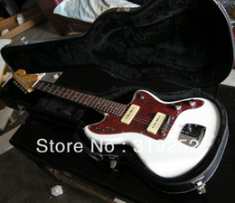 Free shipping HOT wholesales jazz master white Electric guitar With Case